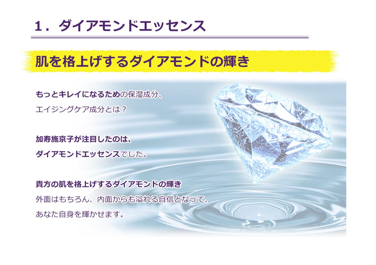 1.ダイアモンドエッセンス。保湿成分、エイジングケア成分として、ダイアモンドエッセンスを凝縮しております。貴方の肌を格上げするダイアモンドの輝きや外面はもちろん、内面からも溢れる自信となって、あなた自身を輝かせます。